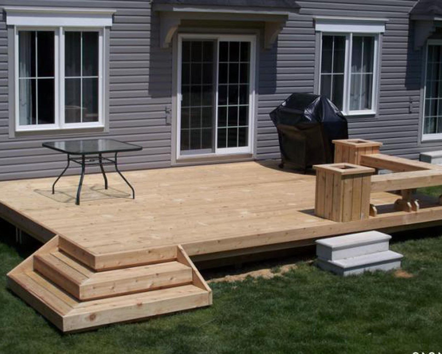 Good Small Deck Ideas Part - 8: Outdoor , Grabbing Exterior Beauty With Small Backyard Deck Ideas : Simple  Decoration For Small Backyard