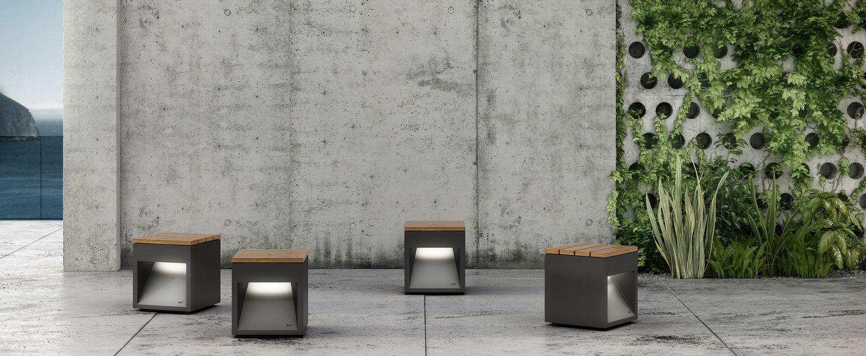 Tabouret duextérieur lumineux lap bench bois gris lcm blux