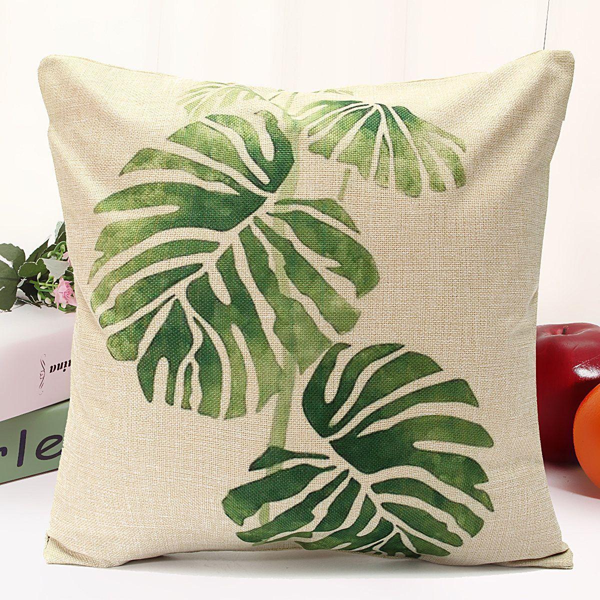 45x45cm Tropical Tree Cotton Linen Cushion Cover Waist