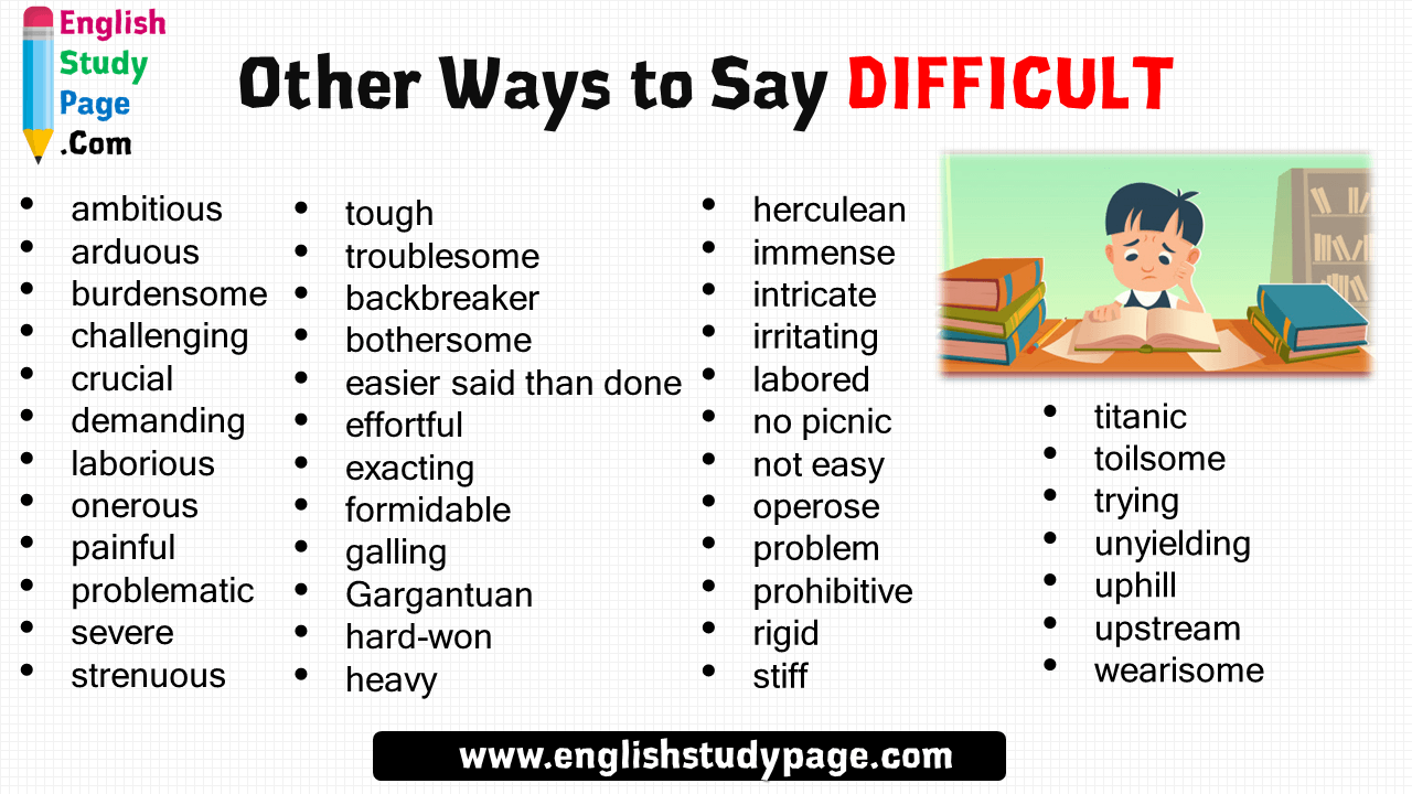 45 Other Ways To Say Difficult Herculean Immense Intricate Irritating Labored No Picnic Not Easy Opero Other Ways To Say English Vocabulary Words Writing Words