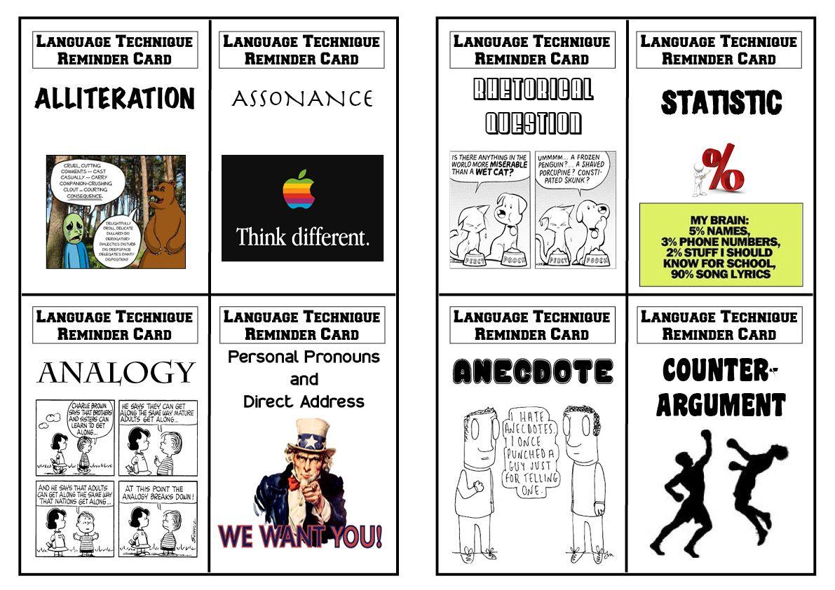 Language Techniques Revision Flashcards For Aqa Gcse