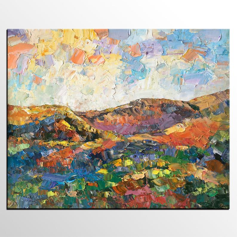 Custom Extra Large Painting Autumn Mountain Landscape Painting Oversize Canvas Painting Palette Knife Oil Painting Huge Oil Painting In 2020 Extra Large Wall Art Painting Night Sky Painting