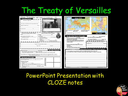 world war i -the treaty of versailles powerpoint presentation with, Presentation templates