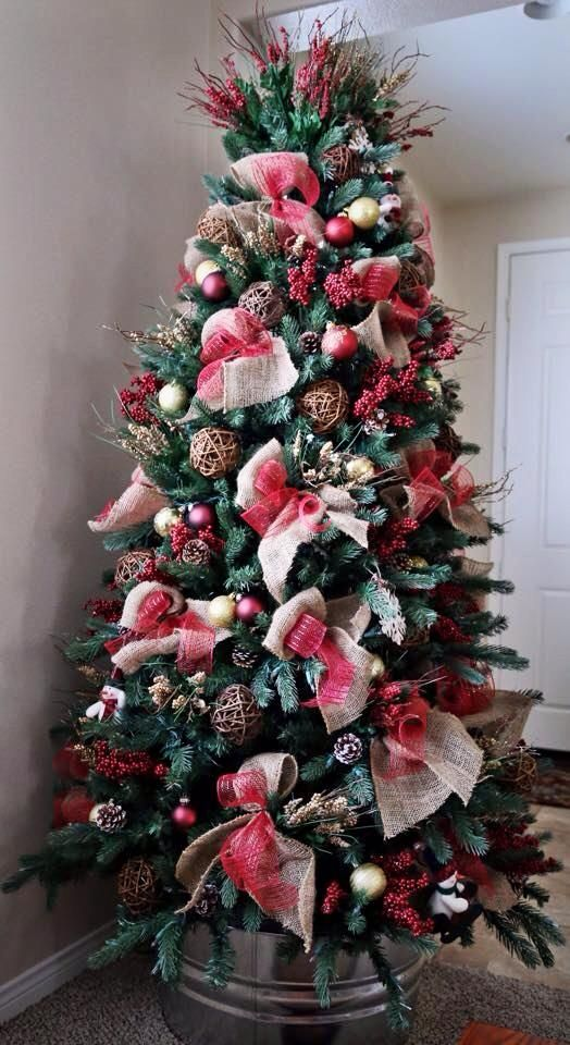 Wash Bucket From Home Depot Love This Christmas Tree Ribbon On Christmas Tree Christmas Diy Christmas Tree