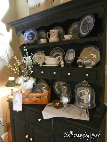 breakfast room, home decor, living room ideas, painted furniture, My hutch runneth over
