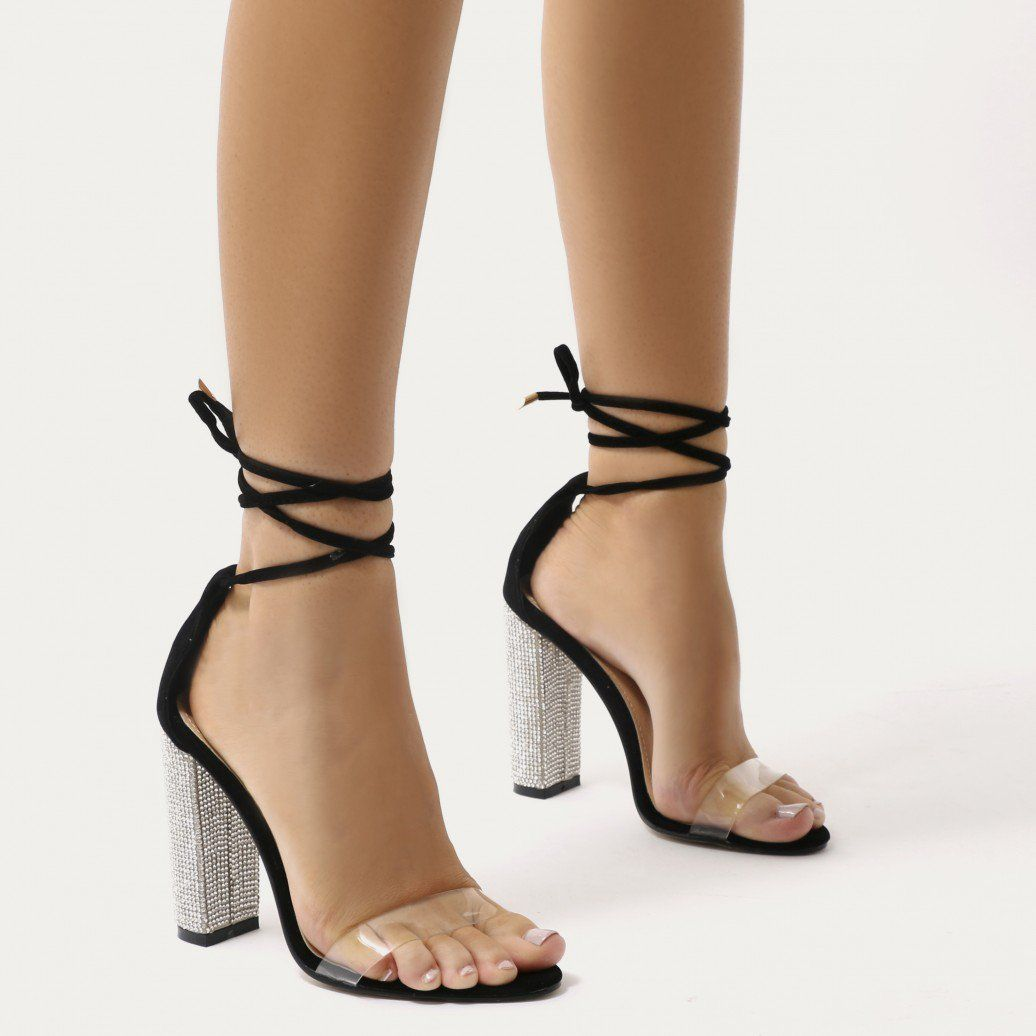 Fatale diamante perspex lace up heels in black faux suede shoes