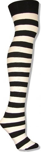 The Joy of Socks - Black and White Wide Striped Thigh Highs (Women's), $4.75