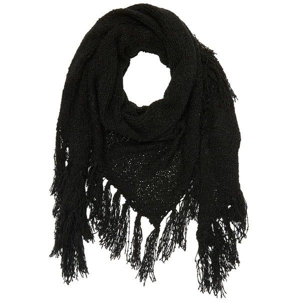 Charlotte Russe Fringe Triangle Wrap Scarf (71 MXN) ❤ liked on Polyvore featuring accessories, scarves, black, charlotte russe, chunky knit scarves, fringe scarves, fringe shawl, shawl scarves and charlotte russe scarves