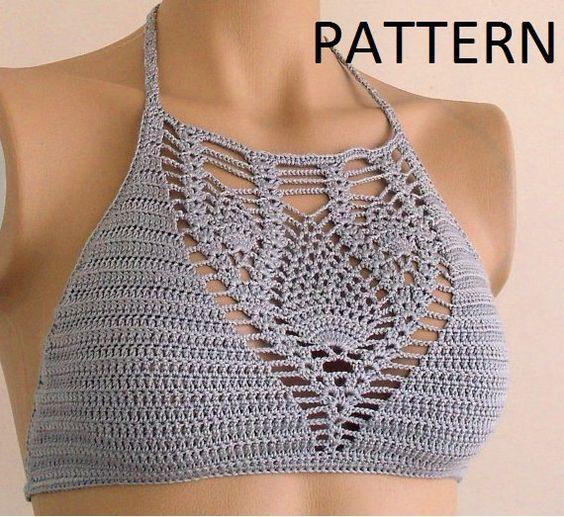 Crochet Halter Top Pattern Halter Top Pattern Bikini Top Pattern
