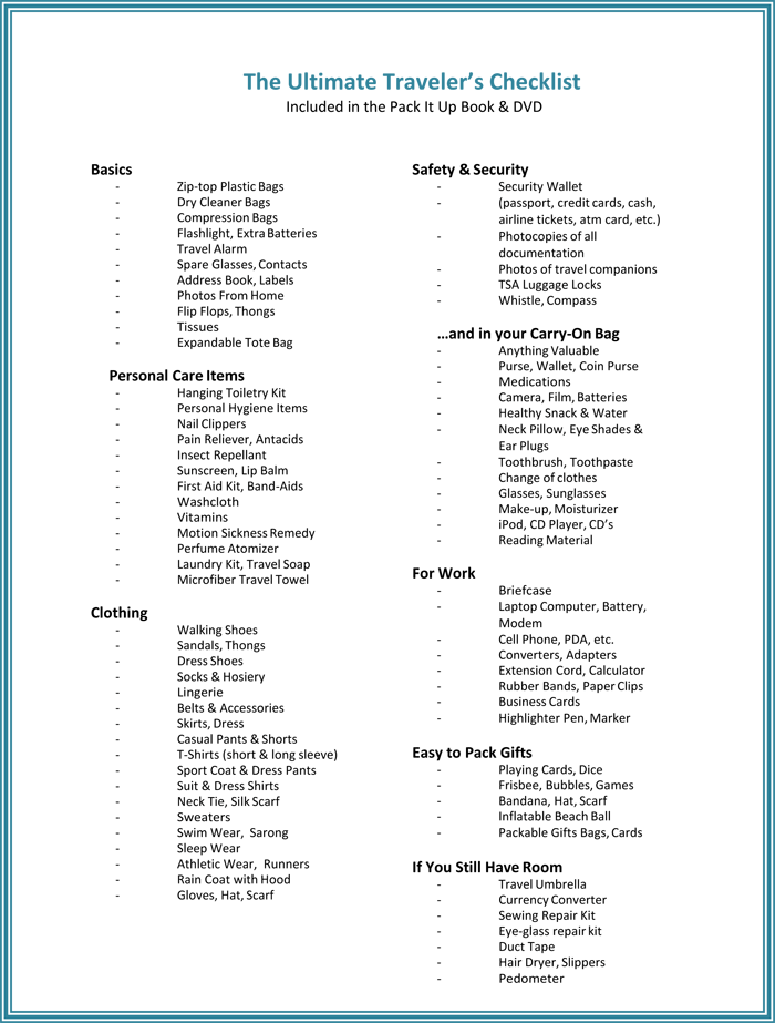 Travel Packing List Template For Word  Menu  Place Cards And