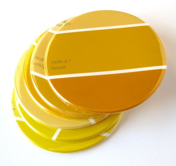 Mustard Yellow Home Decor // Coasters // Choose Your Color //  Bamboo & Mustard // Recycled Paint Sample