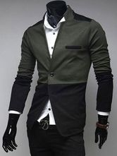 Casual Two-Tone Stand Collar Extra Slim Fit Men's Blazer Jacket