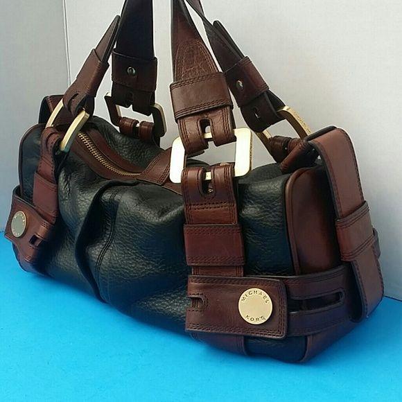 Vtg Michael Kors Black Brown Handbag Mint Condition Vintage Genuine Leather Bags