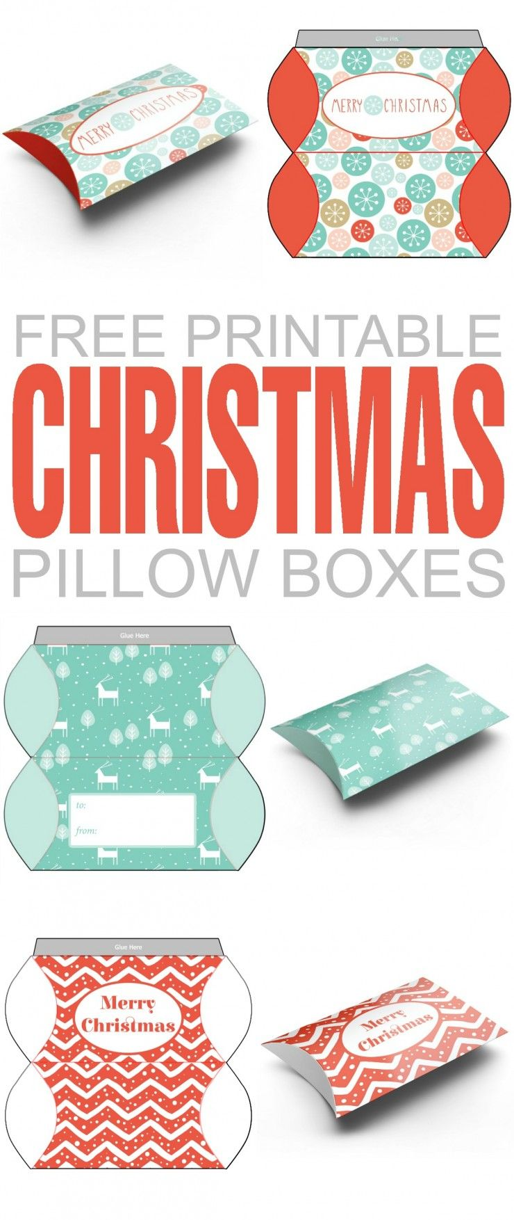 free printable christmas pillow boxes | christmas crafts | christmas