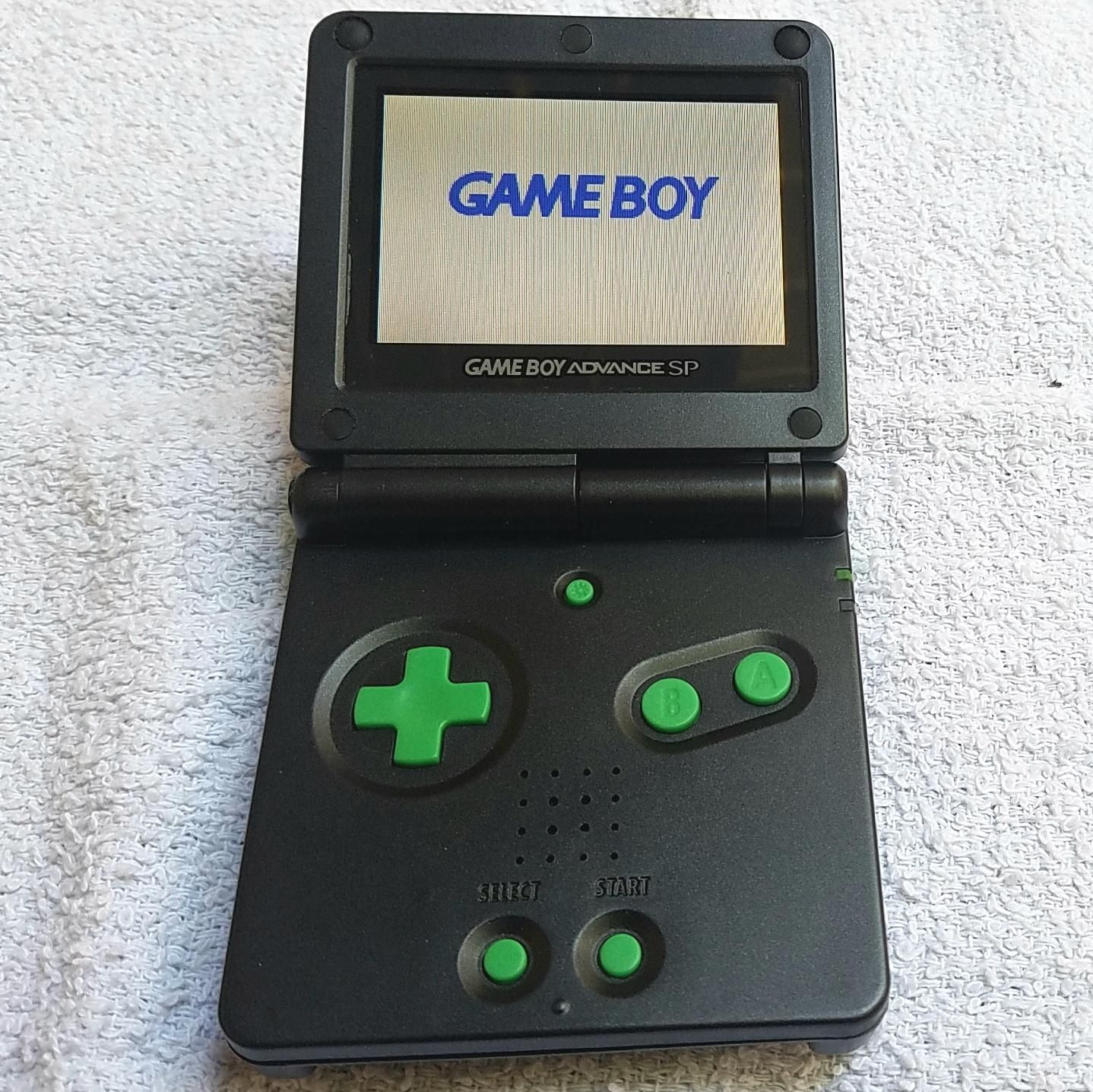 Gameboy Advance SP black and green reshell,SPAdvance