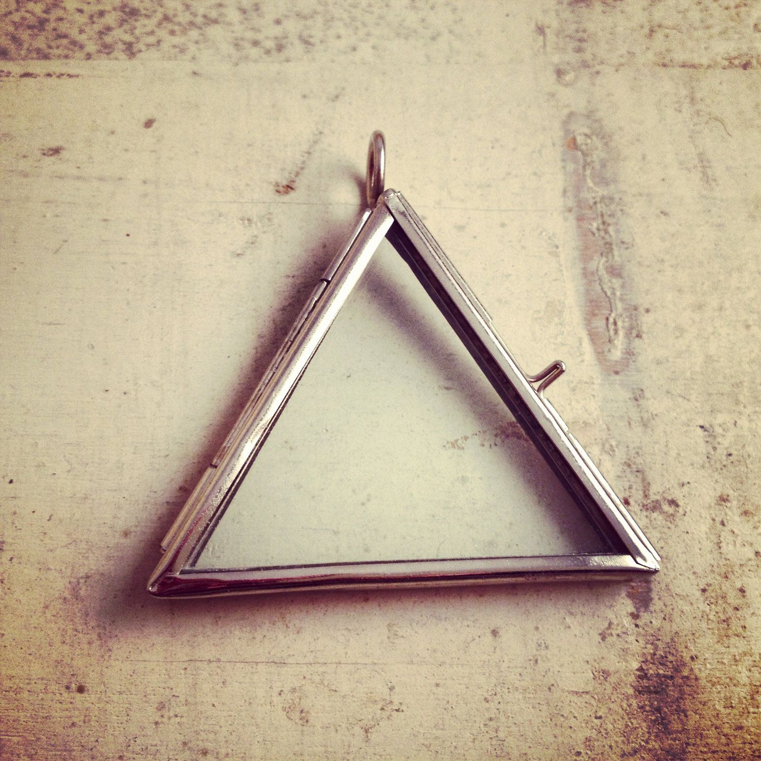 Silver glass frame pendant triangle shape double sided glass double sided glass triangle frame pendant hinged locket charm frame silver vintage style jewelry supplies aloadofball Gallery