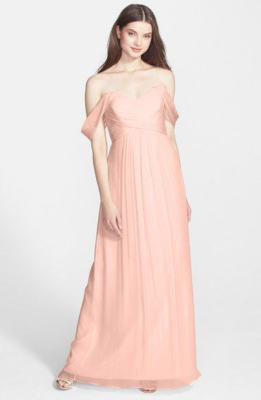 Amsale Convertible Crinkled Silk Chiffon Gown in Blush or Bellini $310