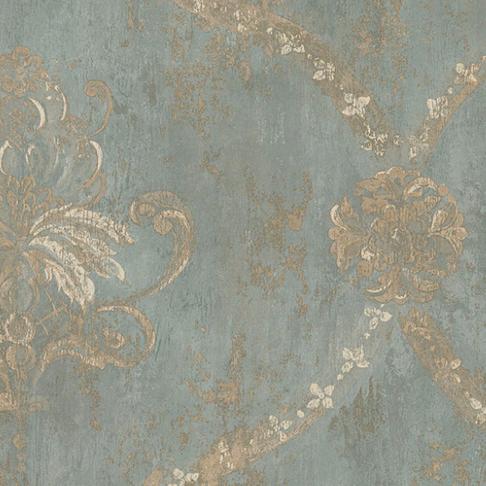 Turquoise Accent Wall Modern Lobby: Manhattan Comfort Noah Regal Damask Wallpaper Metallic