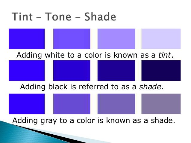 Tint: A hue or color plus white, which makes lighter values of a color or a  hue.