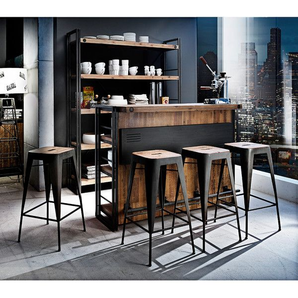 industrieller barhocker manchester 2er set akazie massiv metall industrial design furnlab. Black Bedroom Furniture Sets. Home Design Ideas