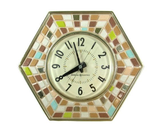 Vintage GE Kitchen Wall Clock / Mosaic Design General