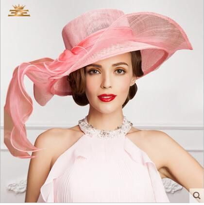 f8b01d9246d92 2015 Charming Ladies Church Hats Organza Wedding Hat Bow Handmade Flowers  Women Hats Wide Brim Hats Wedding Party Accessories Online with   63.87 Piece on .