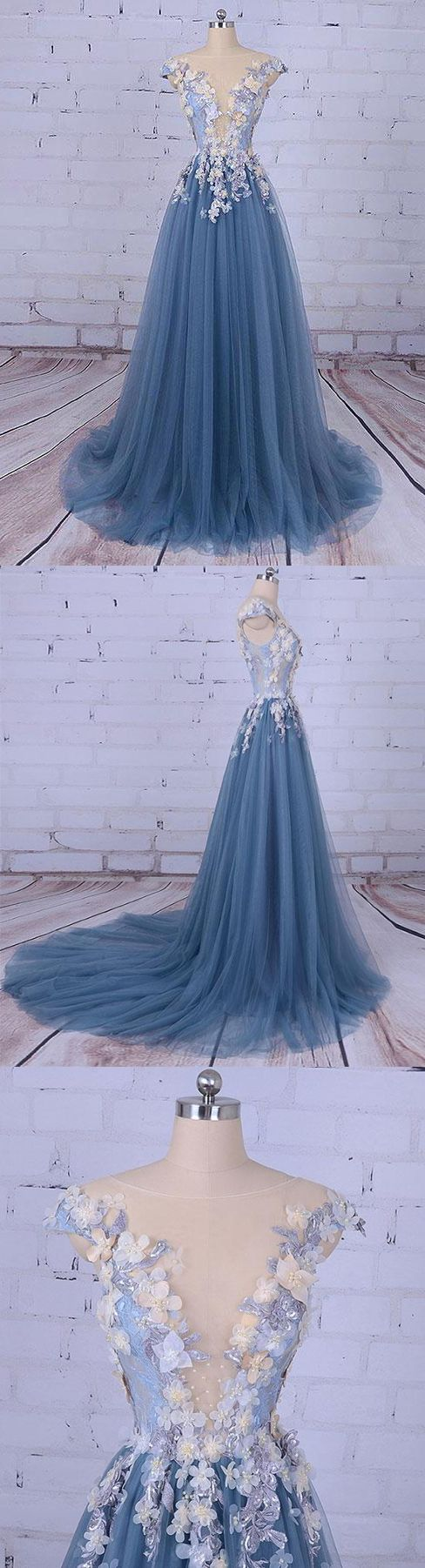 Beautiful prom dresses scoop aline sweepbrush train long prom