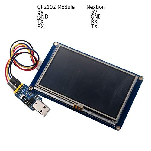 Nextion Display 4.3 inch NX4827T043 Resistive Touch Screen HMI TFT UART LCD Module 480x272 + CP2102 USB to TTL Serial Module for Arduino Raspberry Pi