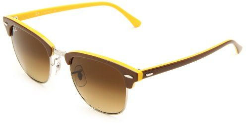 Ray-Ban Clubmaster Sunglasses RB3016 110485-4921 - Top Brown on Yellow  Frame, b0f652928511