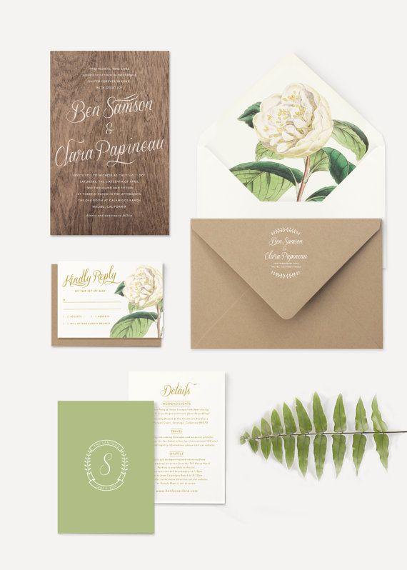 Wood Wedding Invitation White Flowers Floral Envelope Liner