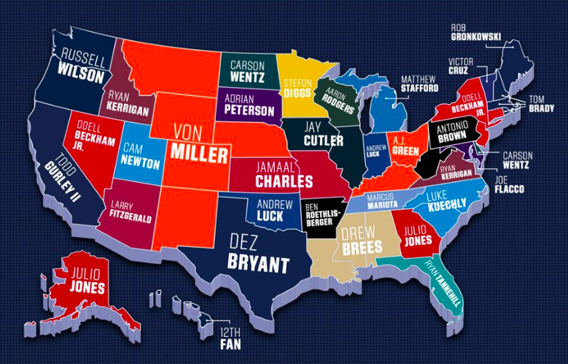 31b31e6904c Last month, Dick's Sporting Goods revealed its top selling NFL jerseys  within each U.S. state.