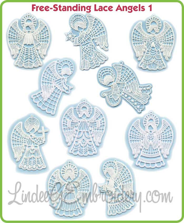 Stand Alone Lace Embroidery Designs : Lindeegembroidery free standing lace angels projects