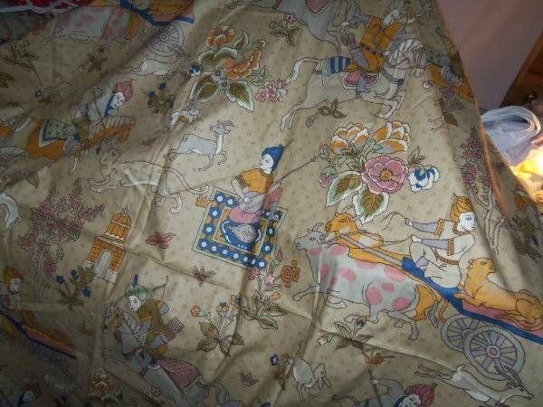 Vintag Jay Yang SCREEN PRINT woodco fabric cotton  Rabbit Lion People