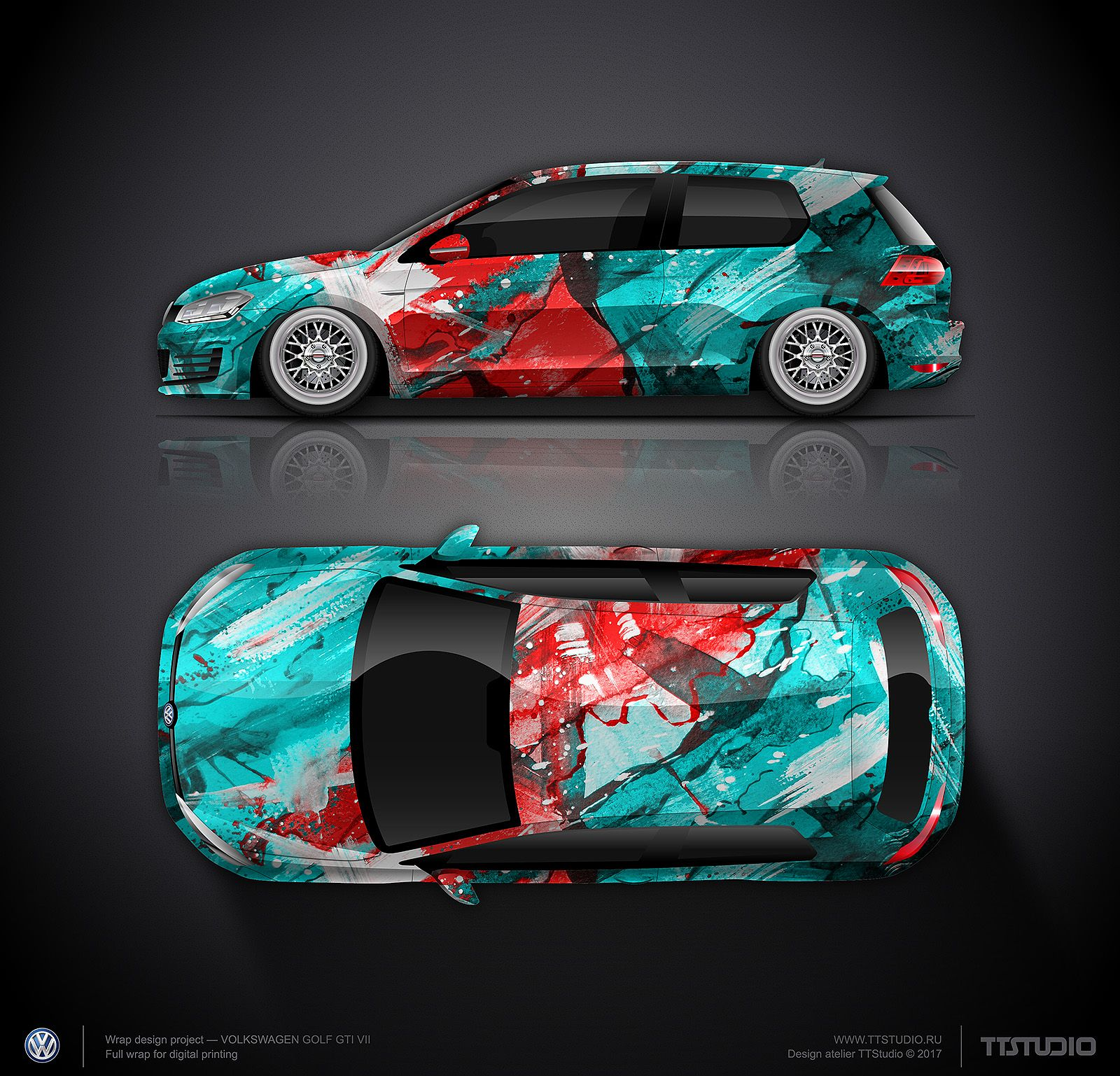 Design Concept 12 Art Car For Vw Golf Gti Наклейки на