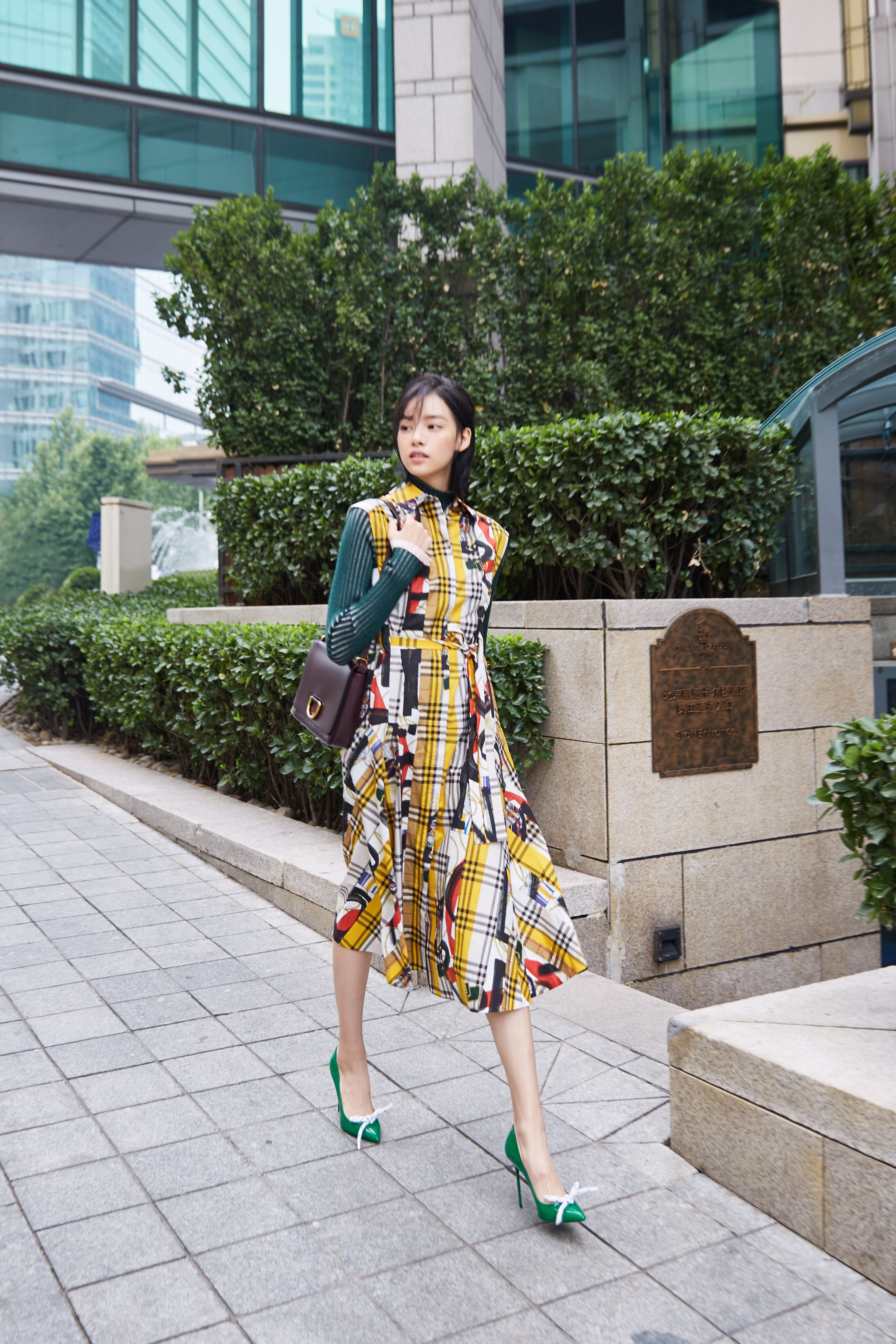 742da1118b6e ZhangYishang wearing a  Burberry archive-scarf-print shirt dress ...