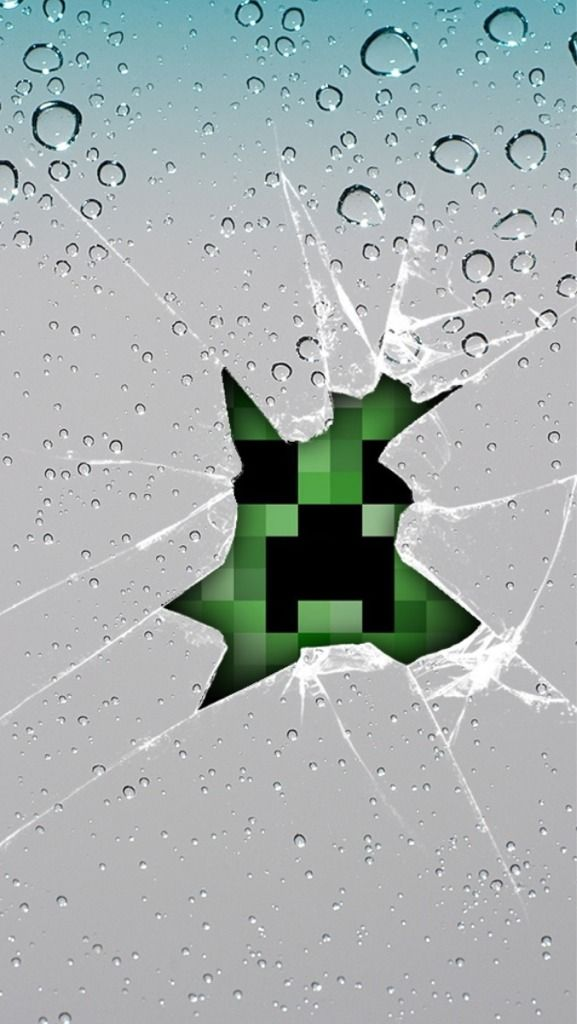 Creeper busting through your phone screen iPhone 5 Wallpapers