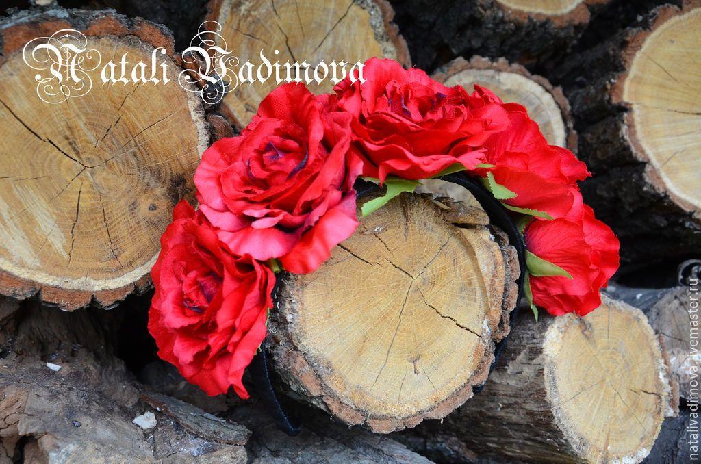 Купить Ободок с розами - Ободки с цветами, ободок с розами, венок из роз, венок с розами