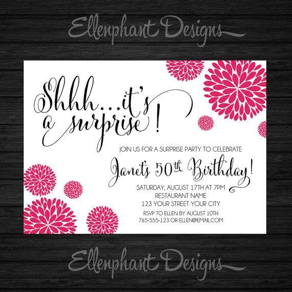 Surprise Birthday Invitation Hot Pink Fuchsia Adult By Ellenphant