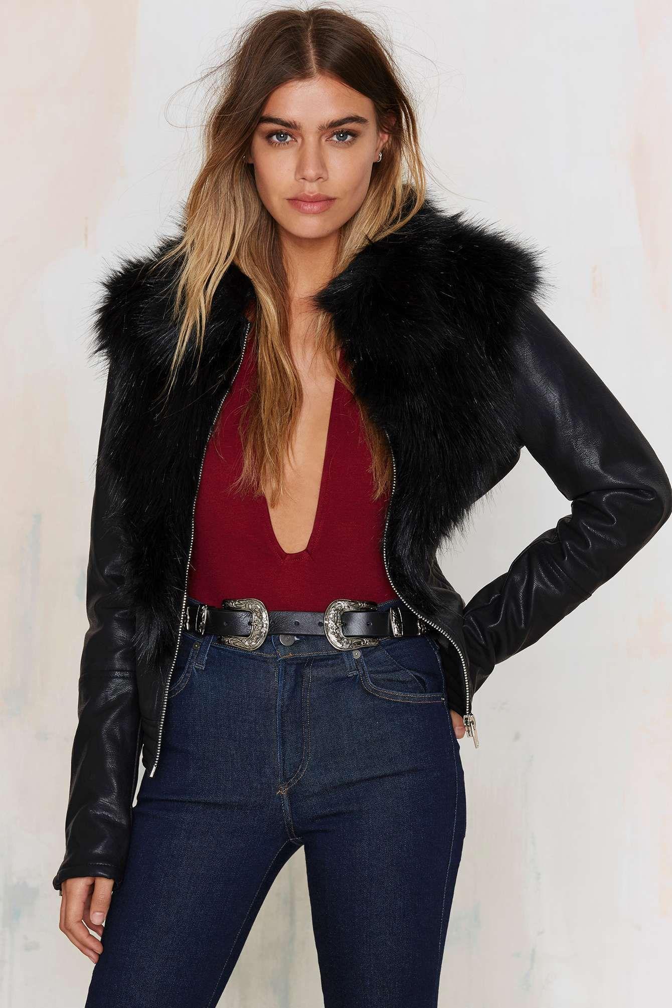 Bad Motor Faux Leather Moto Jacket Leather jacket, Black