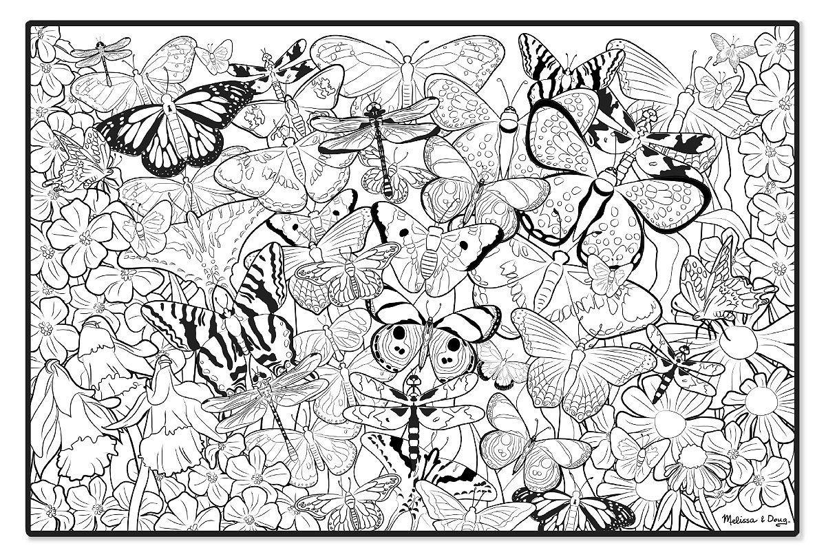 Amazon.com : Melissa & Doug Jumbo Color-In Poster - Butterflies ...
