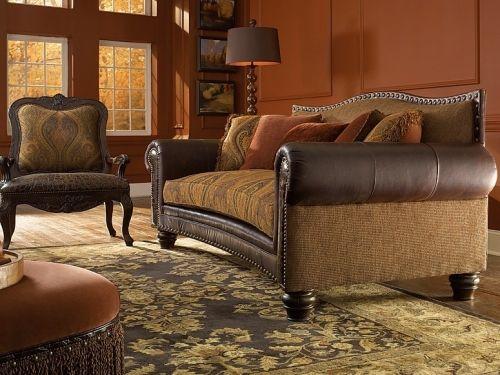 Outlaw Leather Fabric Sofa Www Kinghickory Com King