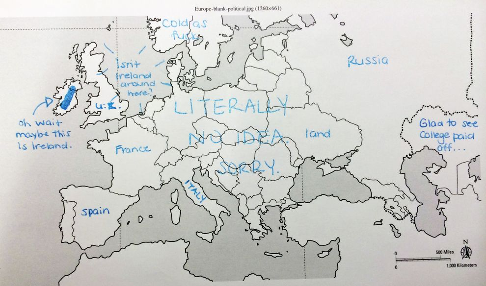 Label A Map Of Europe.Americans Try To Place European Countries On A Map Funny