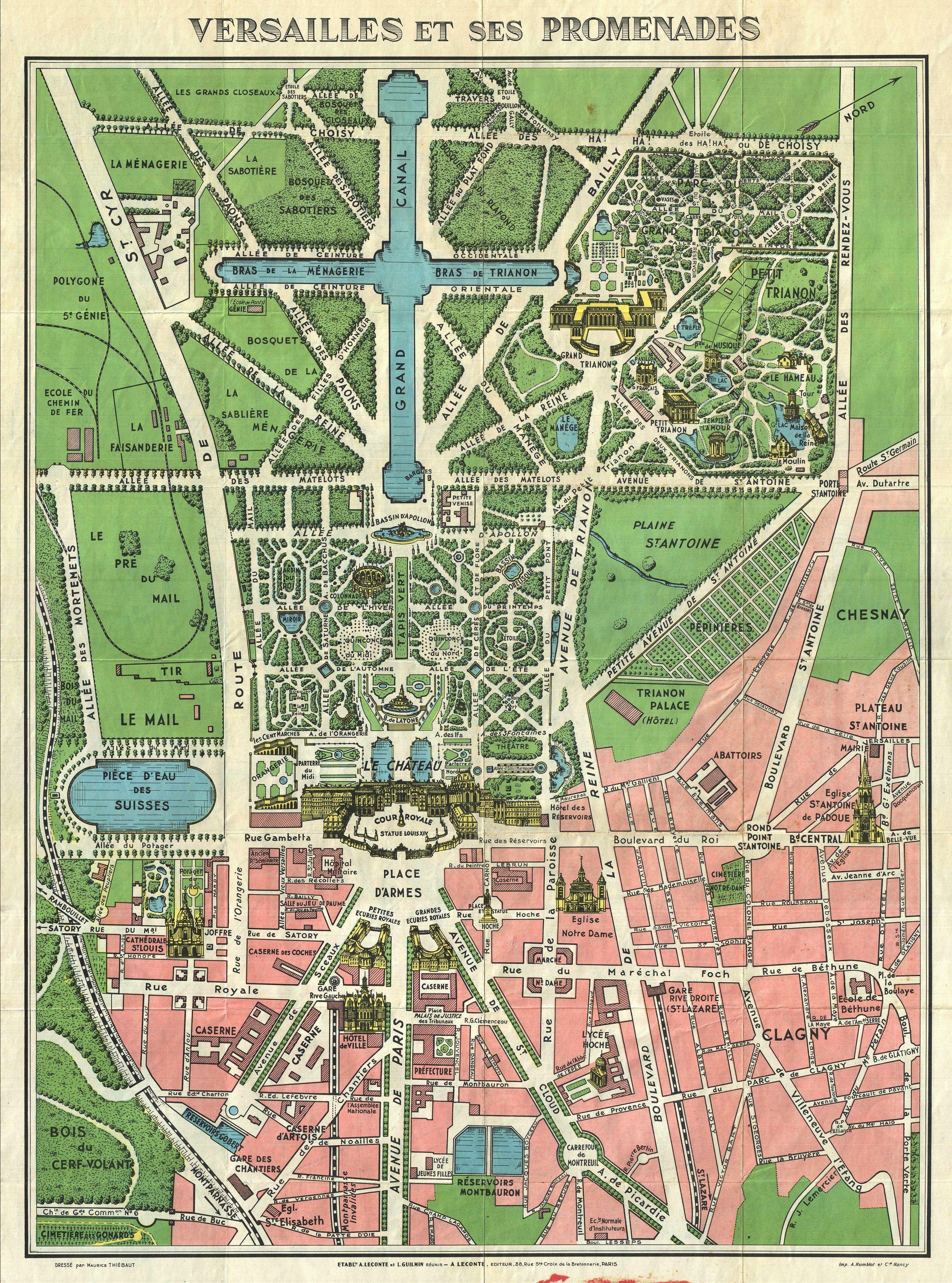 1920s leconte map of versailles gardens 1664 franse tuin for Versailles paris
