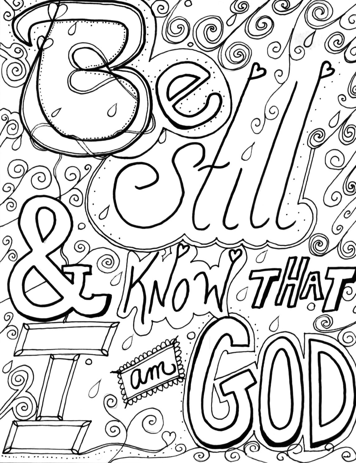 Be still and know that I am Go, Bible coloring page, Bible