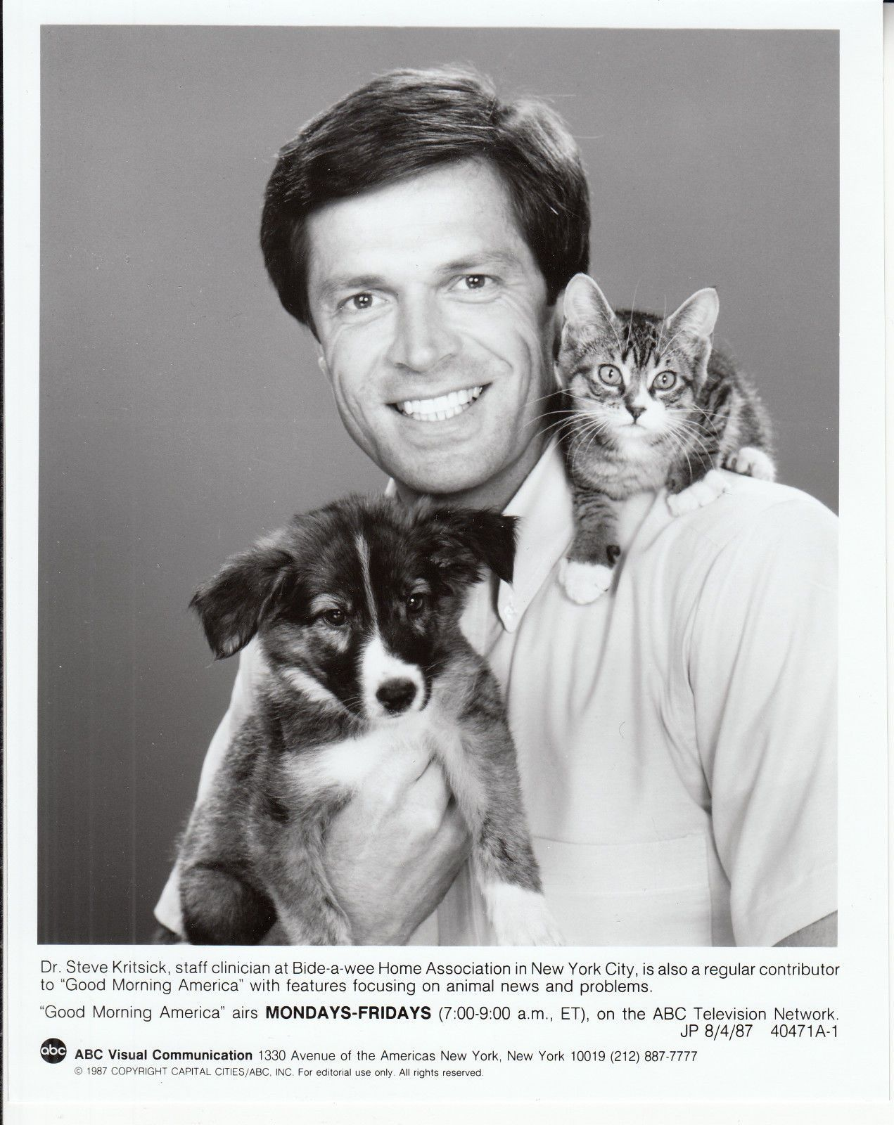 """Dr. S.M. Kritsick was a regular on the TV program Good Morning America, where he provided advice and information about pet care. He was known as the """"veterinarian to the stars."""" His TV career began in 1978 and included nine years on Romper Room and CNN. Kritsick died of AIDS-related illness in 1994 and was survived by his companion of 3 years, civil engineer Art Campbell. He was the author of two books, """"Dr Kritsick's Tender Loving Cat Care"""" and """"Creature Comforts: The Adventures of a City…"""
