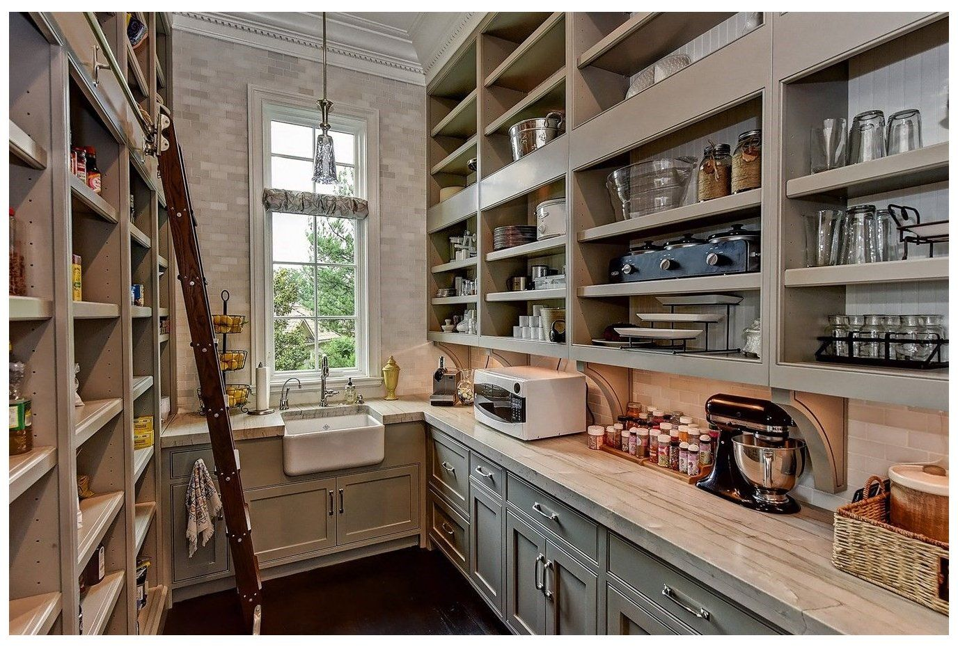 Walk In Pantry With Sink Walk In Pantry With A Place For Everything Food Glassware China An In 2020 Pantry Design Kitchen Pantry Design Kitchen Butlers Pantry
