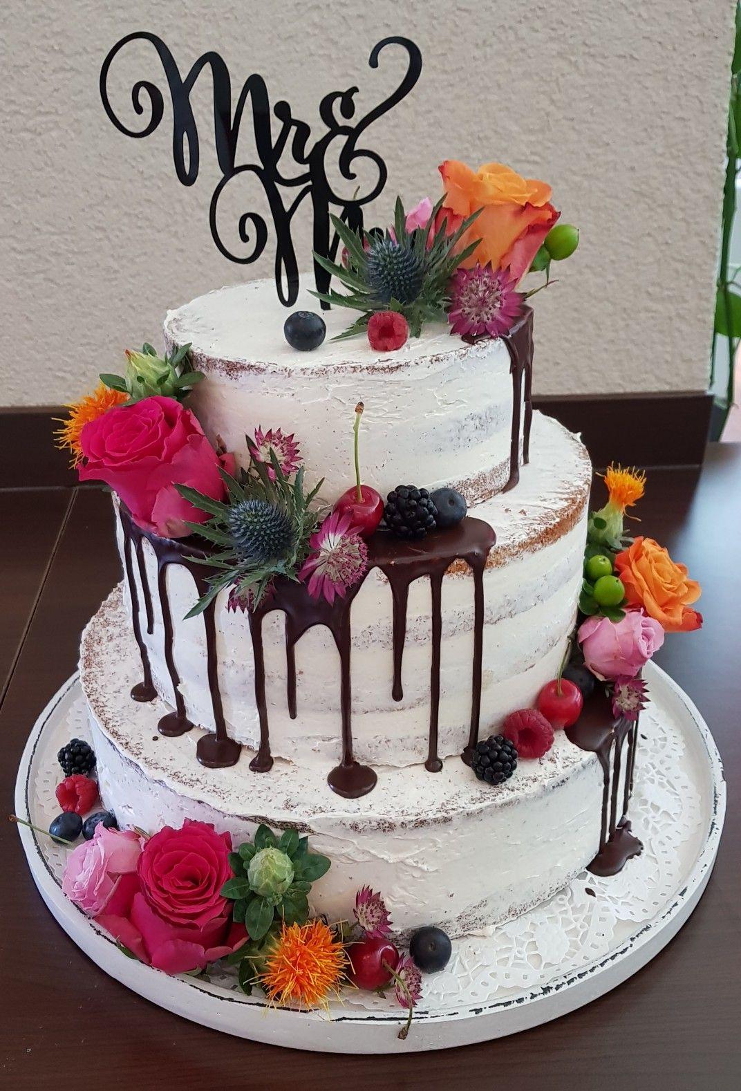 Semi Naked Hochzeitstorte Dripcake Weddingcake Naked Cake Ohne