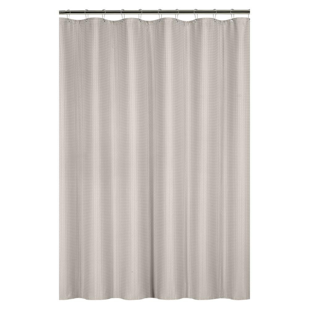 Bath Bliss Waffle Weave 72 In Tan Shower Curtain With Metal