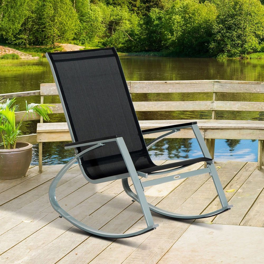 Outdoor Porch Rocker Patio Chair Padded Steel Frame Black Colour