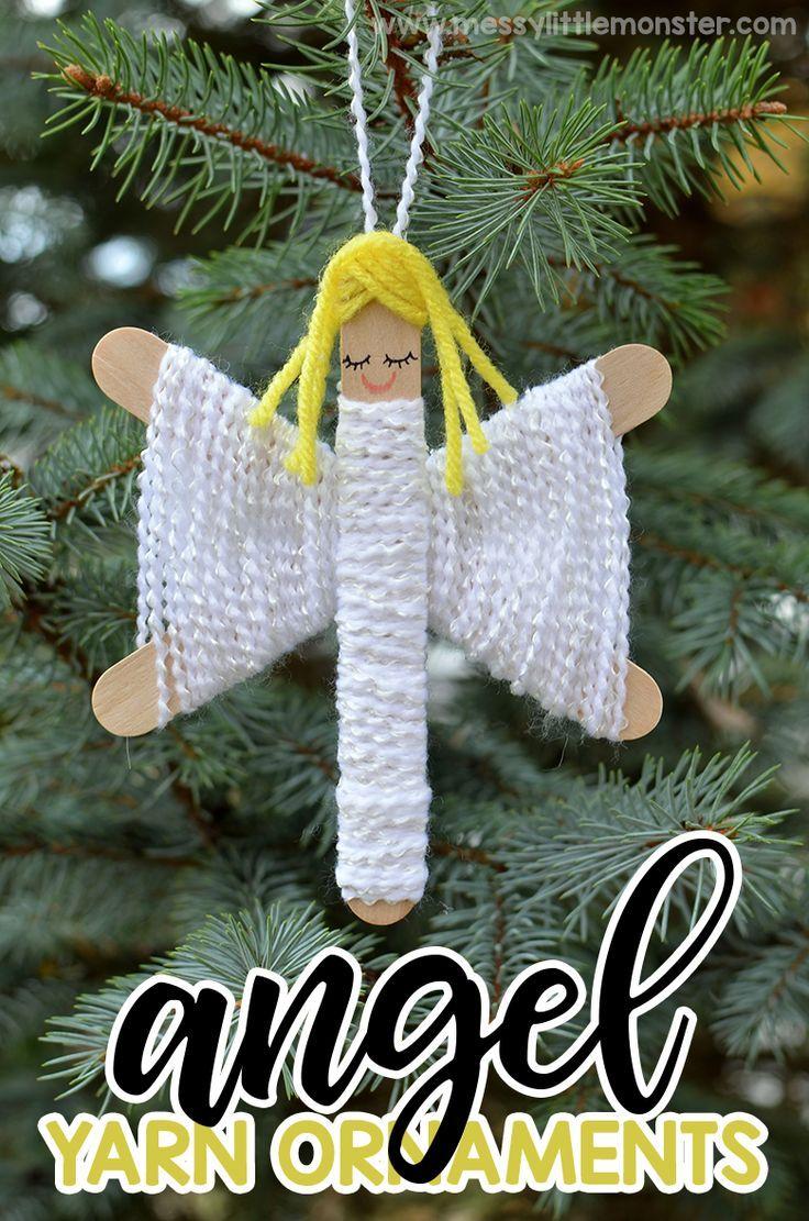 Yarn Angel Ornaments - Easy yarn christmas ornaments